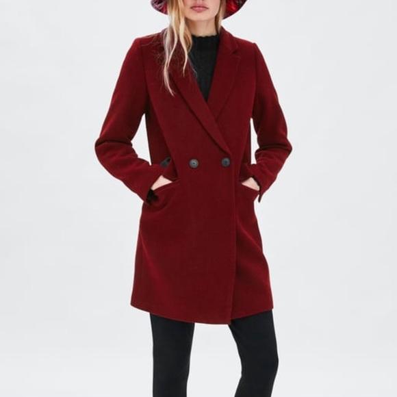 NWOT Zara Oversized Masculine Burgundy Coat Size L.  M 5c4398081b329449994e534c c478c21ac97